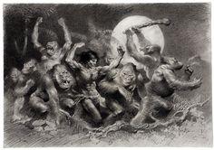 The ceremonial Dum-Dum dance from Edgar Rice Burroughs' Tarzan of the Apes as interpreted by four master illustrators: Enric (Enrique Torres-Prat) Jeffrey Jones Manuel Sanjulian Frank Frazetta (the...