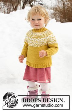 Little missy / DROPS children - free knitting patterns by DROPS design - Knitted sweater for babies and children with round yoke in DROPS Merino Extra Fine. The piece is wo - Baby Knitting Patterns, Jumper Knitting Pattern, Jumper Patterns, Knitting For Kids, Baby Patterns, Free Knitting, Knitting Projects, Crochet Patterns, Drops Design
