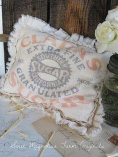Vintage Style Farmhouse Feedsack  Pillow Clarks Sugar by: SweetMagnoliasFarm, 18.00