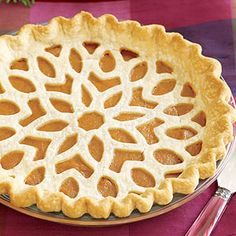 Lattice-Topped Pumpkin Pie~ Take ordinary pumpkin pie up a notch with this lattice pattern -- it's easier than it looks!