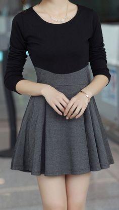 Fold Splicing  | Black & Charcoal Dress.