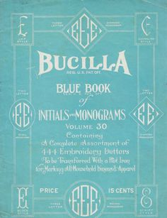 1920s Vintage Embroidery Bucilla Blue Book of Initials and Monograms E Letters Pillow Linens. $10.00, via Etsy.