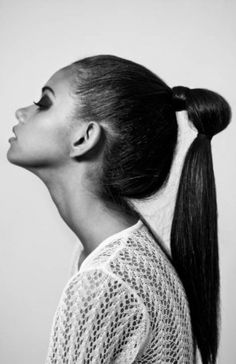 high, tight, slick, straight, double ponytail on long hair