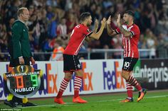 Charlie Austin makes way for fellow striker Jay Rodriguez with 15 minutes to play after delivering a two-goal performance