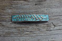 Fern Leaf copper patina hair barrette by EarthlyCreature on Etsy