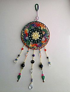 Mandala Suncatcher - Design Your Own! Upcycled CD Wall Art, Crochet Mandala Wall…