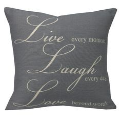 Westex Urban Loft Live Laugh Love Feather Filled Cushion Polyester Throw Pillow