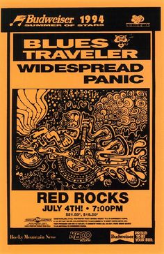 Concert poster for Widespread Panic and Blues Traveler at Red Rocks in Denver, CO. 11x17 inches