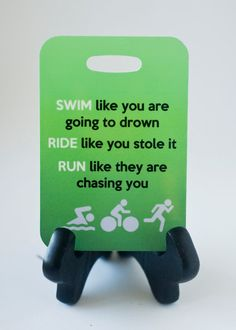 Triathlon Bag Tag Swim Bike Run luggage gear bag by FlipTurnTags