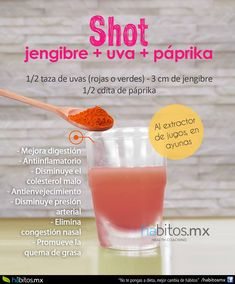 Shot uva y paprika Healthy Juices, Healthy Smoothies, Healthy Drinks, Healthy Food, Healthy Eating, Juice Diet, Juice Smoothie, Detox Recipes, Raw Food Recipes