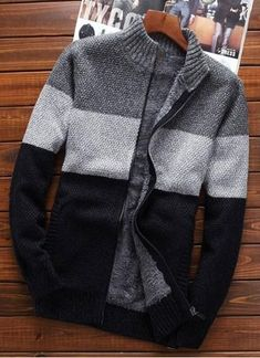 MSA Signature Men sweater cardigan zipper new winter male loose plus velvet thick stand collar casual thermal sweater Men's Casual Fashion Tips, Stylish Mens Fashion, Best Mens Fashion, Stylish Outfits, Stylish Clothes, Cardigan Casual, Wool Cardigan, Winter Cardigan, Fashion Mode