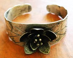 Lotus cuff bracelet vintage Miao Hmong hill tribe by CultureCross
