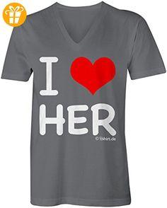 I Love Her ☆ V-Neck T-Shirt Männer-Herren ☆ hochwertig bedruckt