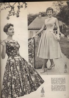 Two wonderful sleeve-less drop waist dresses from 1956. #vintage #1950s #dresses #fashion