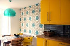 retro. sunny yellow, dark grey and turquoise
