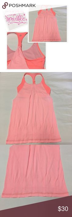"Lululemon Two tone Tank, size 6 Very cute and in excellent condition Lululemon tank with built in bra, size 6, the front measure about 21"" long starting from chest to bottom, the back is 27"" long. lululemon athletica Tops Tank Tops"