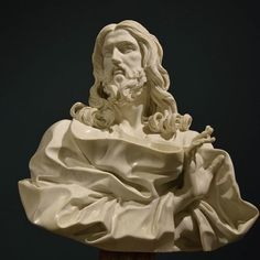 "Cristo Salvatore, 1679, by Gian Lorenzo Bernini (1598-1680). Two hundred years after its disappearance the last masterpiece of Bernini was recognized as the ""Salvator mundi"" in 2001. An over life-size marble bust, representing the Saviour, which the artist sculpted shortly before his death ""out of his devotion"" and which he described as his ""Darling"". - Basilica di San Sebastiano fuori le mura, Rome, Italy"