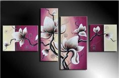Kwiaty tryptyk obraz ręcznie malowany ŚLUB