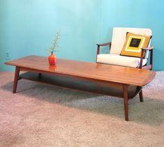 DANISH MODERN Vintage TEAK Wood SURFBOARD Coffee  TABLE $450