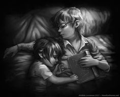 Little Noctis and Ignis from Final Fantasy XV. Looks like the naptime story put them both to sleep!  Ignis was not prepared for that. Artwork©Adele Lorienne Website - Print S...