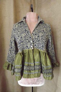 Lagenlook Boho Upcycled Blouse Jacket Passage to India  with Ribbon & Sari Skirt Size S-M via Etsy