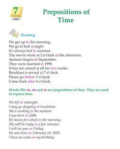 Grade Grammar Prepositions of Time English Learning Spoken, Teaching English Grammar, English Grammar Worksheets, English Writing Skills, English Reading, English Language Learning, English Study, Teaching Spanish, Spanish Language