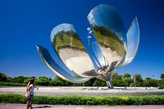 """Floralis Generica (known simply as """"La Flor"""" or """"The Flower"""") a sculpture by the late Eduardo Catalan. Argentina, Bs As"""