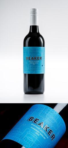 Beaker Wines by Studio Lost & Found - http://www.studiolostandfound.com/ #winelabel #wine #winepackaging #packaging #pd #graphicdesign #branding #studiolostandfound