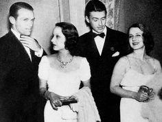 Douglas Fairbanks, Jr., Merle Oberon, Jimmy Stewart and Norma Shearer, late 1930s