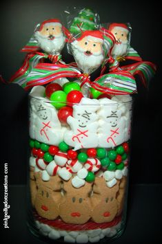 Christmas Candy Jar Edible Centerpiece could also use smaller/less wide vases and put on cake stands