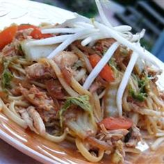 Chicken Yakisoba. I changed up the sauce - soy sauce, rice vinegar and a little sugar. I love noodles!