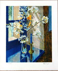 Pierre Poulain signed lithograph blue house nostalgia of Etsy Handmade, Handmade Crafts, Wall Art Decor, Wall Art Prints, Blue Bouquet, Fine Art Gallery, Art Market, Artwork, Gifts