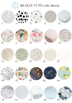I'm so glad that one crib sheet is not enough, because even if it were…it could NEVERbe. There are too many cute crib sheets out there toonlybuy one. And while I'm mostly content with white sheets in my own room, give me all the cutest patterns for the baby's. They add personality and a splash of pattern or color to a nursery, and hey!, they make really pretty photo backdrops too. A few of my go-tosources for crib sheets are Land of Nod, pottery barn kids, Serena and Lily, Anthropologie…