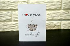 I love you more than coffee card, Valentine's day card, Birthday card, Coffee card by NishsCreations on Etsy