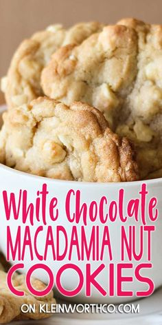 Easy to make White Chocolate Macadamia Nut Cookies that are so soft chewy and positively delicious. Great as neighbor gifts or served at any holiday party. Favorite Cookie Recipe, Best Cookie Recipes, Baking Recipes, Vegan Recipes, Easy No Bake Desserts, Easy Dinner Recipes, Dessert Recipes, Yummy Cookies, Cupcake Cookies