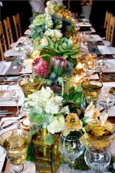 Beautiful table setting with succulents as centerpiece . Cute Wedding Dress, Perfect Wedding, Fall Wedding, Wedding Weekend, Succulent Centerpieces, Wedding Centerpieces, Wedding Decor, Table Arrangements, Floral Arrangements
