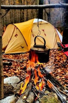 Camping and cooking out by the fire
