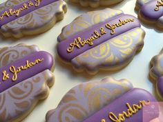 Cookies for an engagement dinner. Beautiful gold stencil embellishes the purple base so perfectly Wedding Cookies, Cookie Decorating, Sugar Cookies, Stencils, Bakery, Crafty, Engagement, Dinner, Desserts