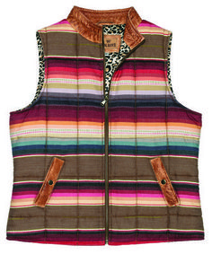 BackOverviewWatch heads turn when you sport this colorful rustic front-zip serape vest. Front side-slash pockets and flattering leopard print lining. Layer with a denim skirt or dress up your favorite jeans. A stunning addition to any wardrobe in 100% cotton, with genuine leather trim collar, pockets, and antique brass snaps. S-XL