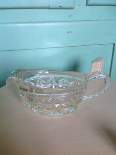 Glass jug Gravy boat Sauce server by VioletnDaisyVintage on Etsy, $10.00 Gravy Boats, Glass Jug, Butter Dish, Bowls, Soup, Cheese, Dishes, Purple, Unique Jewelry