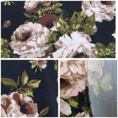 Double Brushed Polyester Spandex: Cream and Rose Floral on Black