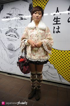 Floral cape and knee socks.