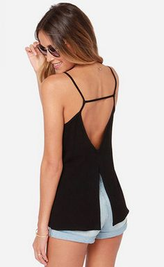 SheIn offers Black Spaghetti Strap Backless Cami Top & more to fit your fashionable needs. Cami Tops, Black Tank Tops, Look Fashion, Fashion Outfits, Lolita Fashion, Fashion Boots, Summer Outfits, Casual Outfits, Emo Outfits