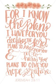 For I know the plans I have for you says the Lord. Plans to prosper you… Jeremiah 29:11  ‭#WordOfGod #blessed #Scriptures #Jeremiah #TheGospel #bibleverses #TheGoodNews #bible #Lord #IKnowThePlansIHaveForYou #GodsPerfectPlan