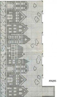 filet crochet - European cityscape on water Filet Crochet Charts, Knitting Charts, Knitting Stitches, Knitting Patterns, Crochet Patterns, Start Knitting, Doily Patterns, Dress Patterns, Cross Stitch House