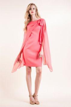Abito in cady e georgette - Modello color corallo Luisa Spagnoli.