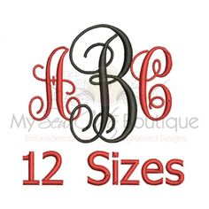 Interlocking Vine Intertwined Embroidery Font Machine Embroidery Font 12 Sizes Available