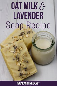 Oat Milk and Lavender Cold Process Soap – Tweak and Tinker This cold process soap is new spin on the traditional lavender soap recipe with the addition of silky oat milk and a dash of geranium essential oil. So soothing! Handmade Soap Recipes, Melt And Pour, Lavender Soap, Organic Soap, Cold Process Soap, Home Made Soap, Soap Making, Smoothie Recipes, Homemade
