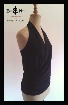 Womens Basic Black Drape Halter top  elegant by MixeDesigns  Choose your color!