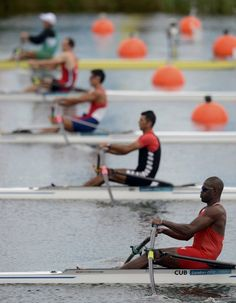 Cuba's Fournier Rodriguez reacts before the start of the men's rowing single sculls heat at the Eton Dorney during the London 2012 Olympic Games July 28, 2012.